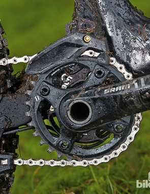 Scott Genius LT 700 Tuned: We're big fans of SRAM's 1x11 gearing, but we'd expect carbon cranks at this price