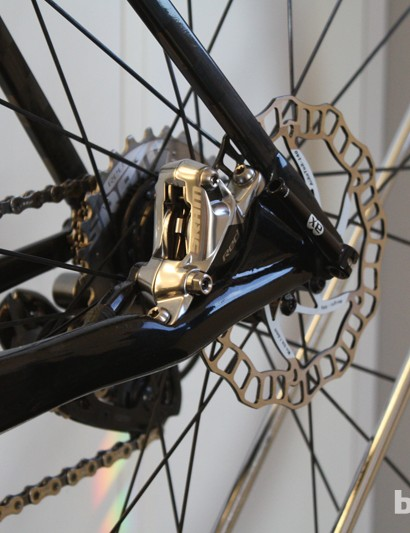 The chainstay of this Vial disc prototype has been moulded to neatly integrate a SRAM Red hydraulic disc calliper