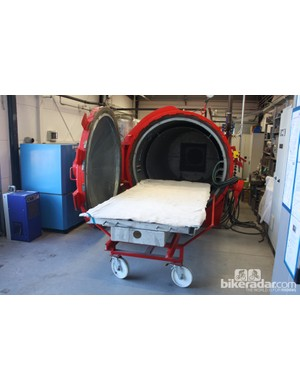 The resin is cured using an autoclave, essentially a pressurised oven that produces components of significantly higher quality than a regular oven