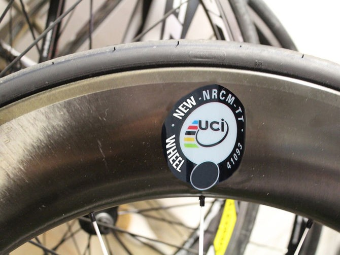 The UCI was planning to add stickers to approved race wheels this month