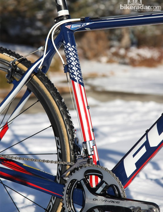 Instead of traditional stars and stripes, Fuji outfits Jonathan Page's (Fuji/Spy/Competitive Cyclist) Altamira frame with stripes and company icons