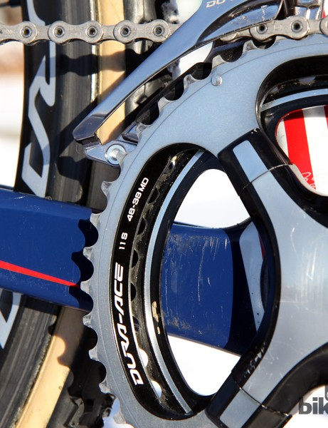 The Shimano Dura-Ace crankarms are fitted with 46/39T chainrings