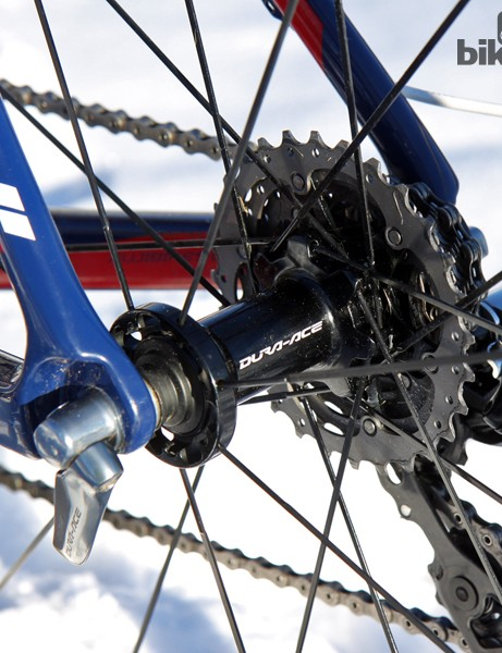 Shimano's latest Dura-Ace C35 rear wheel features two-to-one spoke lacing for even tension from side to side