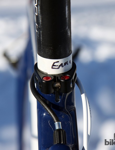 To ensure his seat heights are always consistent while traveling, Jonathan Page (Fuji/Spy/Competitive Cyclist) makes sure each seatpost is tagged to its respective frame