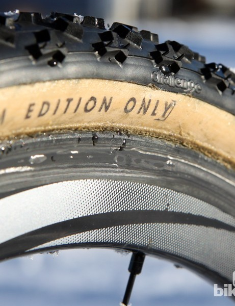 Jonathan Page (Fuji/Spy/Competitive Cyclist) says Belgian mud wreaks havoc on carbon sidewalls, even with the correct pads. Page is hoping to have fresh sets of wheels glued up before he races on Sunday