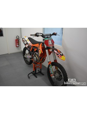 Throughout the building are various toys. Here is MD Axel's KTM motocross bike