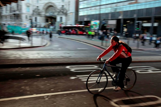 A cycle commuter in central London