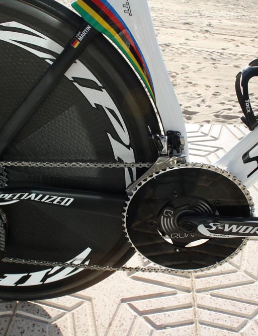 A Zipp disc wheel keeps drag low