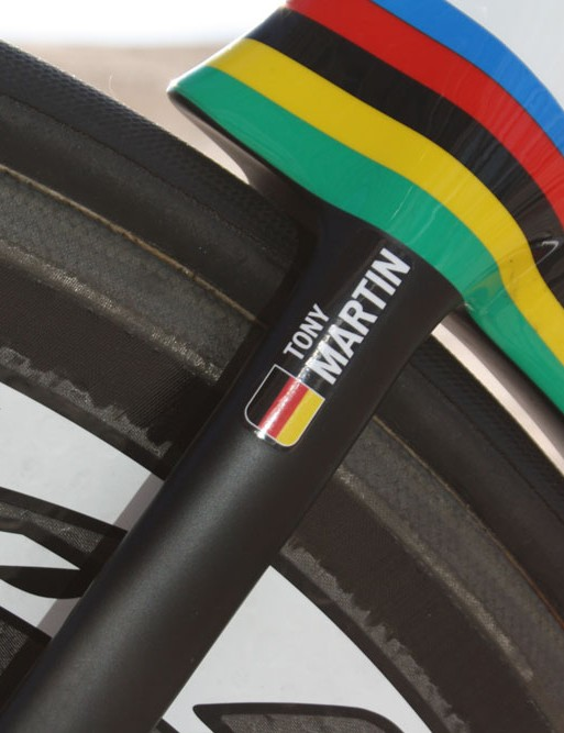 Tony Martin's Shiv has been given a new splash of rainbow paint that'll last until at least late-September and the next world championships in Spain