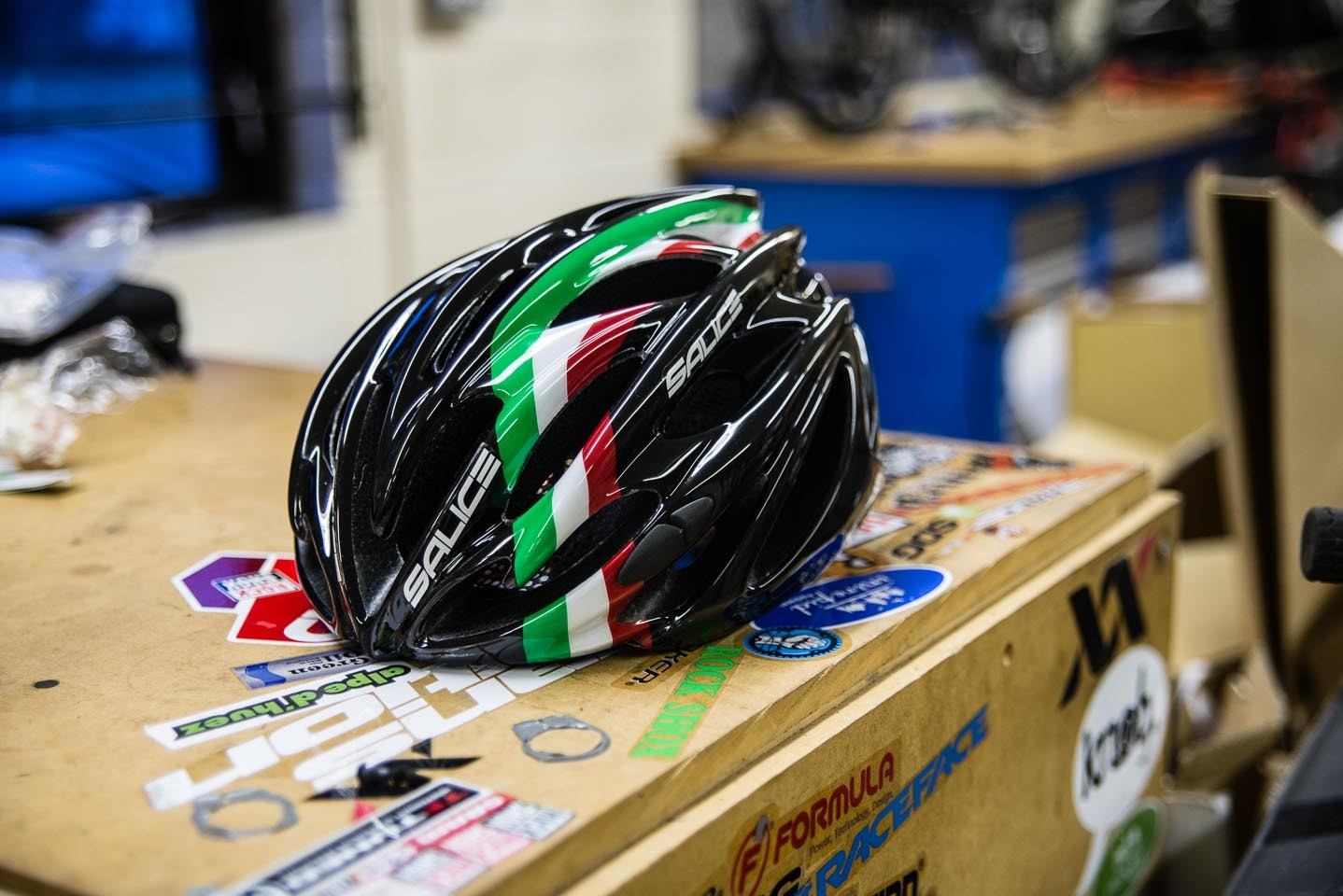 The Salice Bolt helmet with integrated rear light