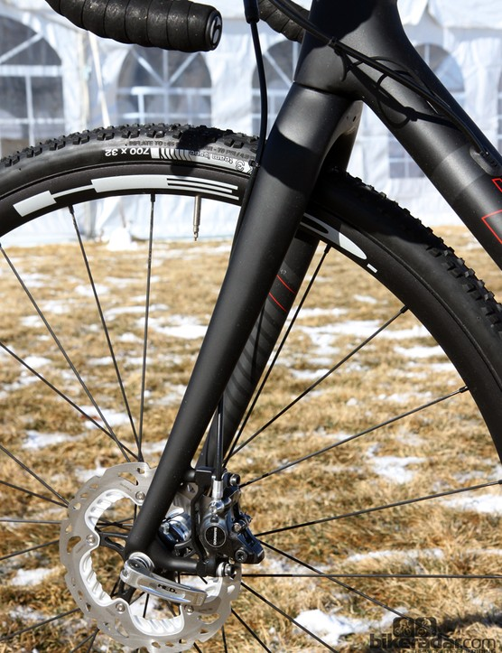 Note how the slender IsoSpeed fork blades curve slightly more than usual. The aluminum dropouts then have to 'reach back' to the axle in order to maintain a proper rake dimension