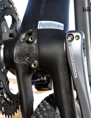 The internally mounted Shimano Di2 battery inserts through the bottom of the frame. It's only accessible after removing the crank but given that the battery doesn't need to be removed for charging, it shouldn't need to be done often at all
