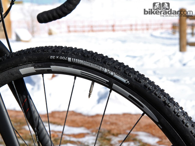 Bontrager CX3 Team Issue clinchers are mounted to HED Ardennes Plus Disc tubeless-ready wheels