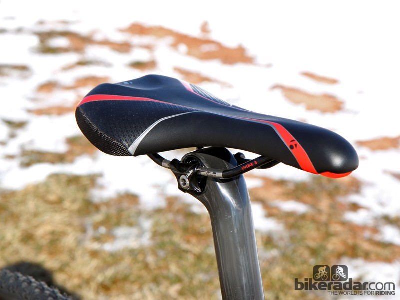 The stock Bontrager Evoke 3 saddle is comfortable and well shaped. Smooth edges make for more consistent remounts, too