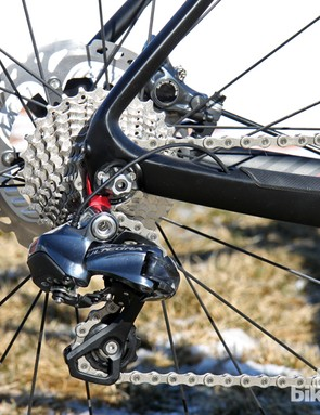The Ultegra Di2 transmission doesn't offer much in the way of tactile feedback, but it shifts with robotic precision each and every time