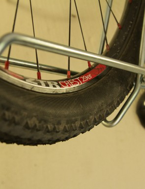 Even large 29in mountain bike wheels fit - we found 2.25in tyre was about the maximum width that the rack could take