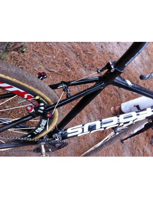 The seatstays are notably slimmer and more traditionally shaped than on the current Focus Mares CX, which suggests a softer ride