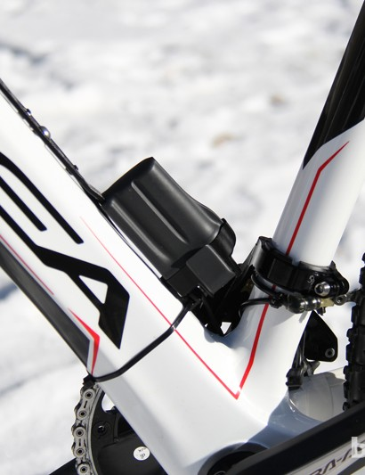 The battery is mounted to the downtube of Gould's Orbea Terra