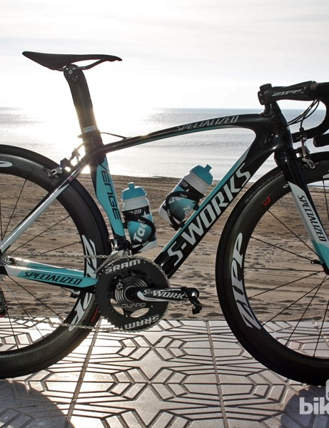 Mark Cavendish (Omega Pharma-QuickStep) is still riding a Specialized S-Works Venge, but has switched from a 52cm a 49cm frameset