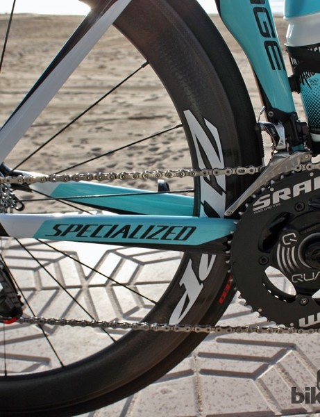 Big carbon fiber crankarms are augmented with a QuarQ power meter and a solid outer chainring