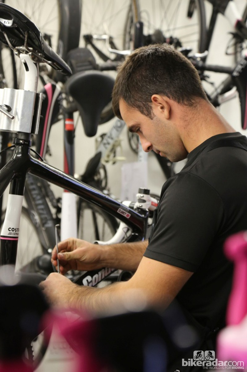 Ed Clancy's bike being prepped by the ProTool Workshop, who look after the Rapha Condor JLT bikes, as well as Beacon's