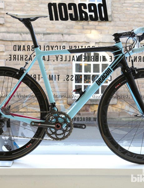The BF_100 is Beacon's top road race frame, seen here in a Campagnolo Super Record guise
