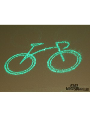 An example of the laser image the BLAZE projects approximately 5m ahead of a rider