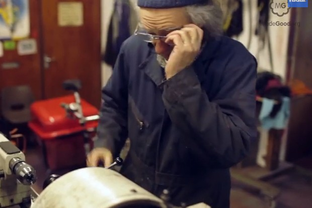 Mike Burrows at work on his lathe