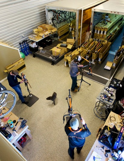 Mechanics in Optum Pro Cycling's service course in Golden, Colorado, were busy in December building up bikes