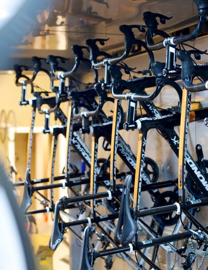 Once built, the bikes were loaded up into Optum's trucks