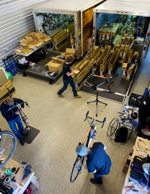 Mechanics were busy building many team bikes when we visted