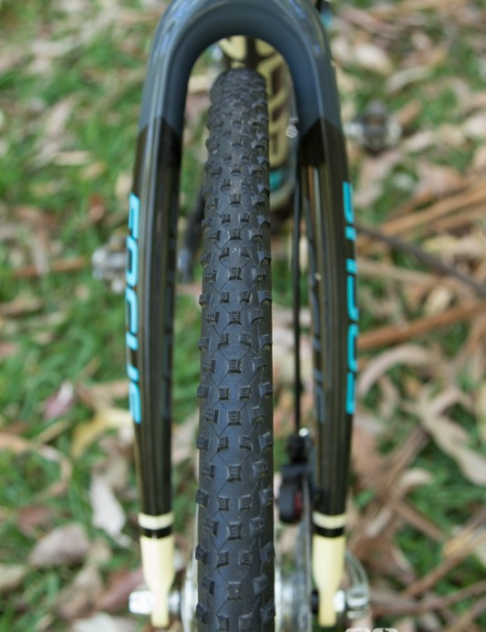 The Focus Mares CX Disc fork is curvy and offers plenty of mud clearance