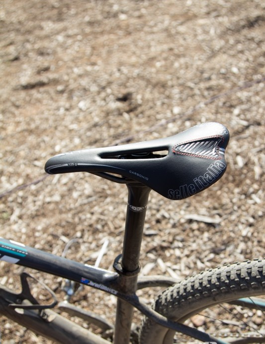 A superlight saddle and seatpost helps shed weight