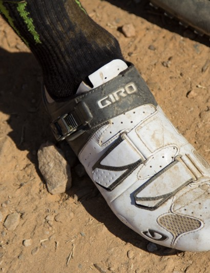 No tread on these, Giro Trans shoes are road only. We didn't see how we mounted his SPD cleats, but we assume it was with a converter plate