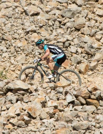 The rocky climb toward the finish line was a struggle in the heat