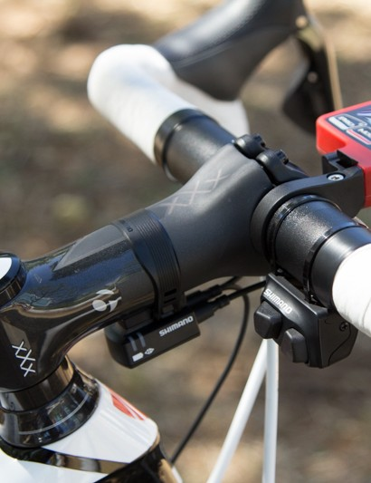 One benefit to electronic shifting is the ability to have multiple shifter locations, here Voigt has the Climber shifter