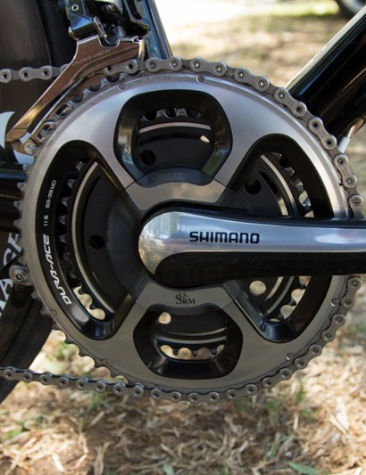 SRM provides the data - here the Dura-ace 9000 level 'Shimano' crankset is seen in a long 177.5mm length