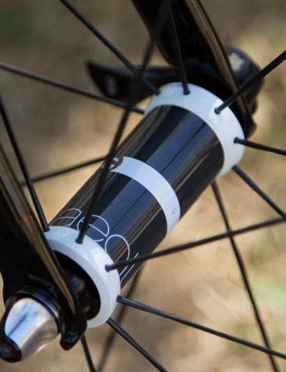 At the center of Bontrager's Aeolus 5 wheels is a streamlined carbon and aluminium hub