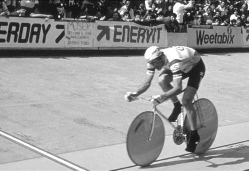 Francesco Moser durante il Record dell'Ora a Città del Messico