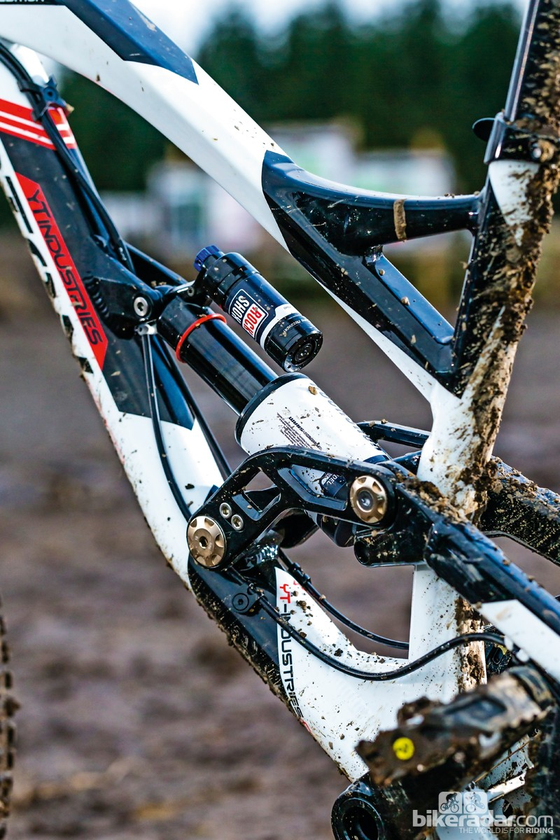 The RockShox Vivid Air R2C shock has an anti-fade design to keep the damping consistent, as well as rebound and compression adjustment