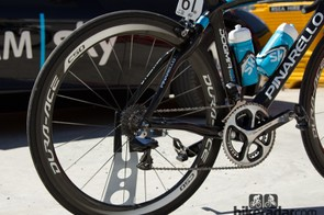 Porte is no stranger to timetrials and his 50mm depth Shimano C50 wheel choice is based on aerodynamics