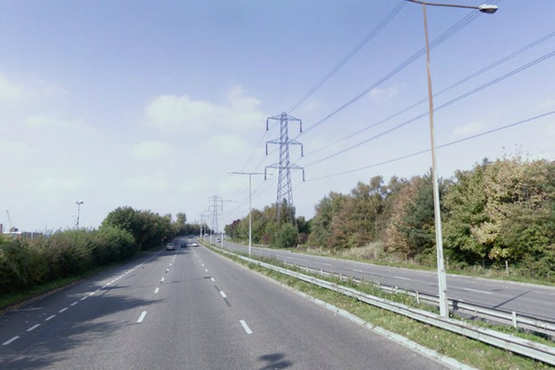 The A33 Mountbatten Way, the road on which David Irving was killed