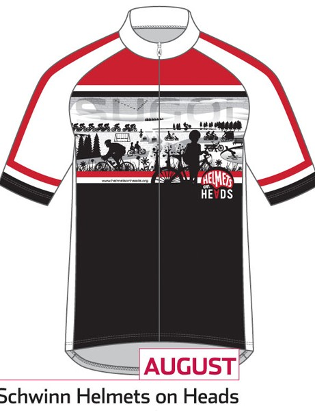 Sugoi Jersey of the Month program: the August jersey supports Schwinn Helments on Heads