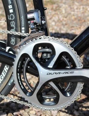 Shimano Dura-Ace Di2 9070 rings feature their own BCD so you can use 52/36-tooth ratios or the standard 53/39T shown here
