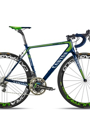 A Power2Max fitted to the Canyon Ultimate CF SLX 9 in Movistar team colours