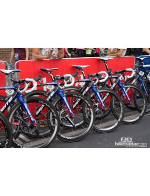 It was rumoured we may see a new aero road bike, called 'Aircode' from Lapierre, however we only saw FDJ riders on the Xelius