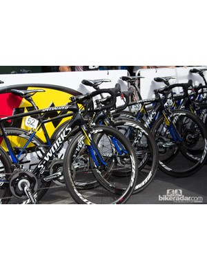 Team Tinkoff-Saxo had its new, brighter colour scheme on display