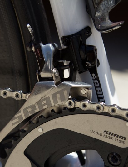 The Yaw angle front derailleur fixes the issue of chain rub when in extreme gears