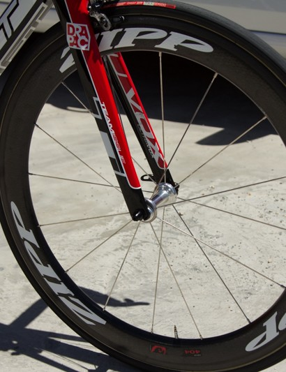 Zipp 404 Firecrest wheels are a popular sprinter choice - fast and stiff