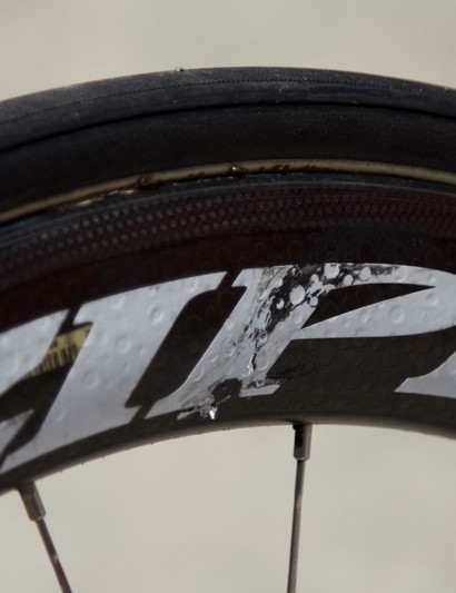 Cantwell's rear Zipp 404 wheel shows some recent race carnage
